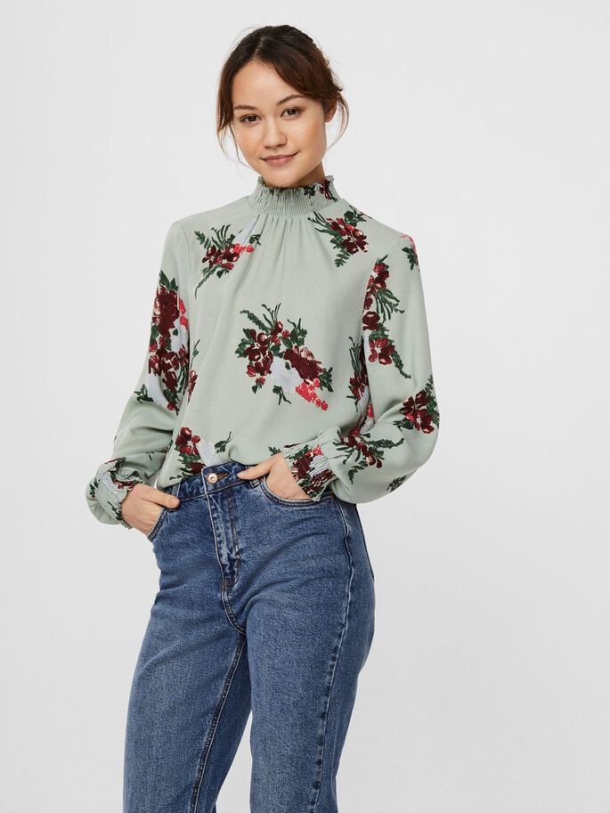 PRINTED LONG SLEEVED TOP, Green Milieu, large