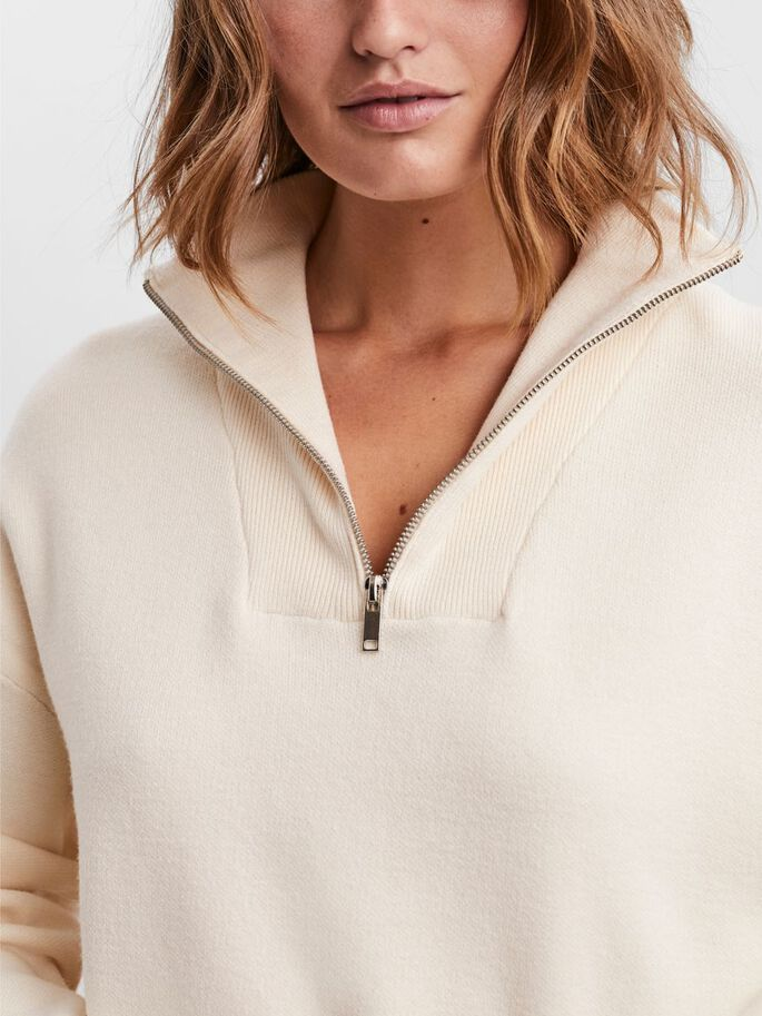 COL MONTANT PULL EN MAILLE, Birch, large