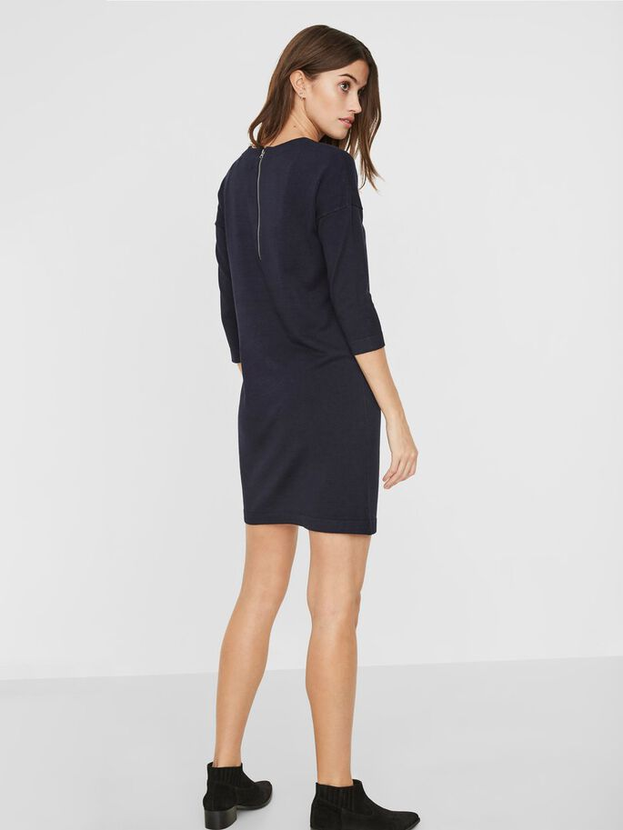 KNITTED DRESS, Navy Blazer, large