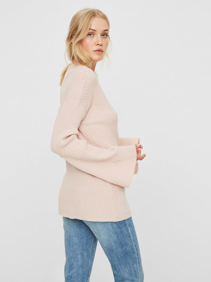 LONG KNITTED PULLOVER, Peach Whip, large