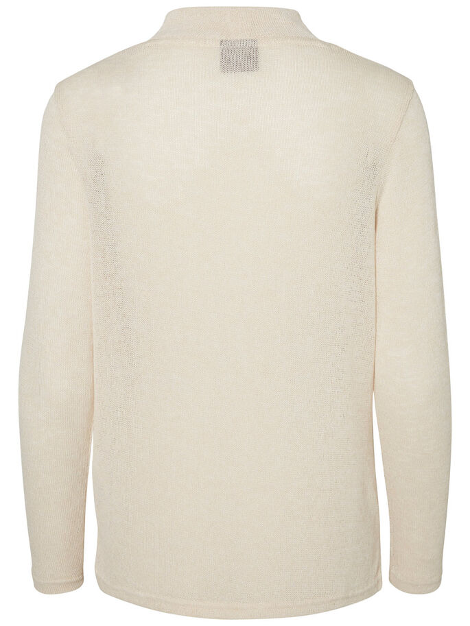 CASUAL STRIKKET PULLOVER, Oatmeal, large