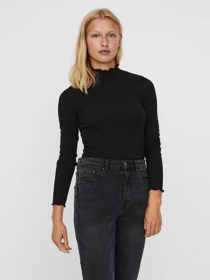 HIGH NECK LONG SLEEVED TOP, Black, large