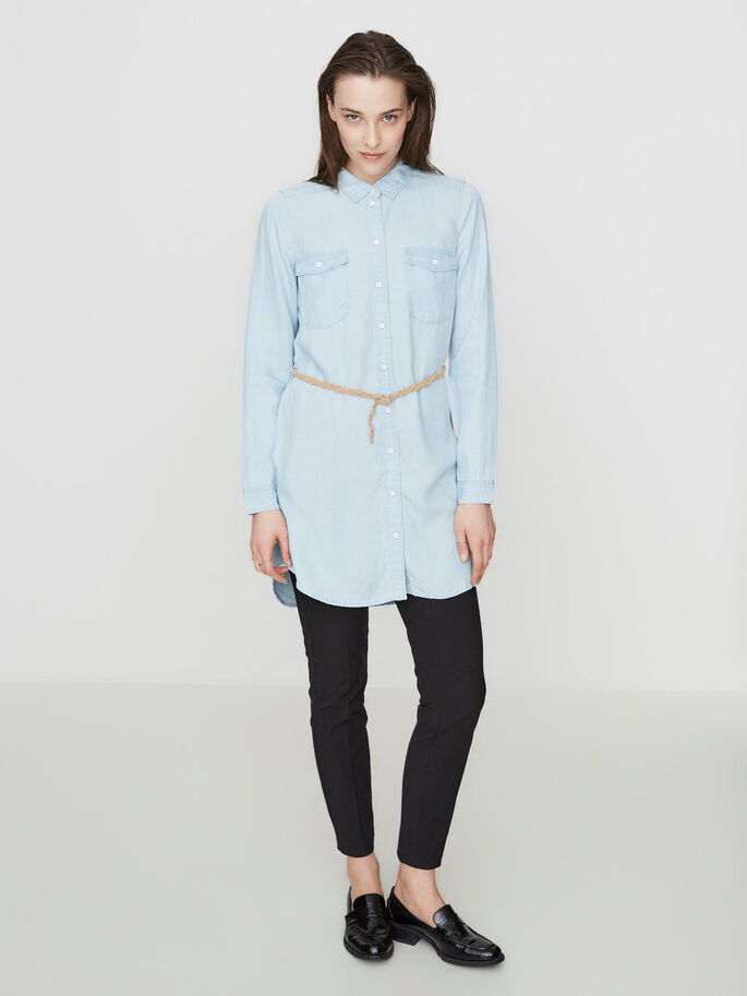 LONG SHIRT, Light Blue Denim, large