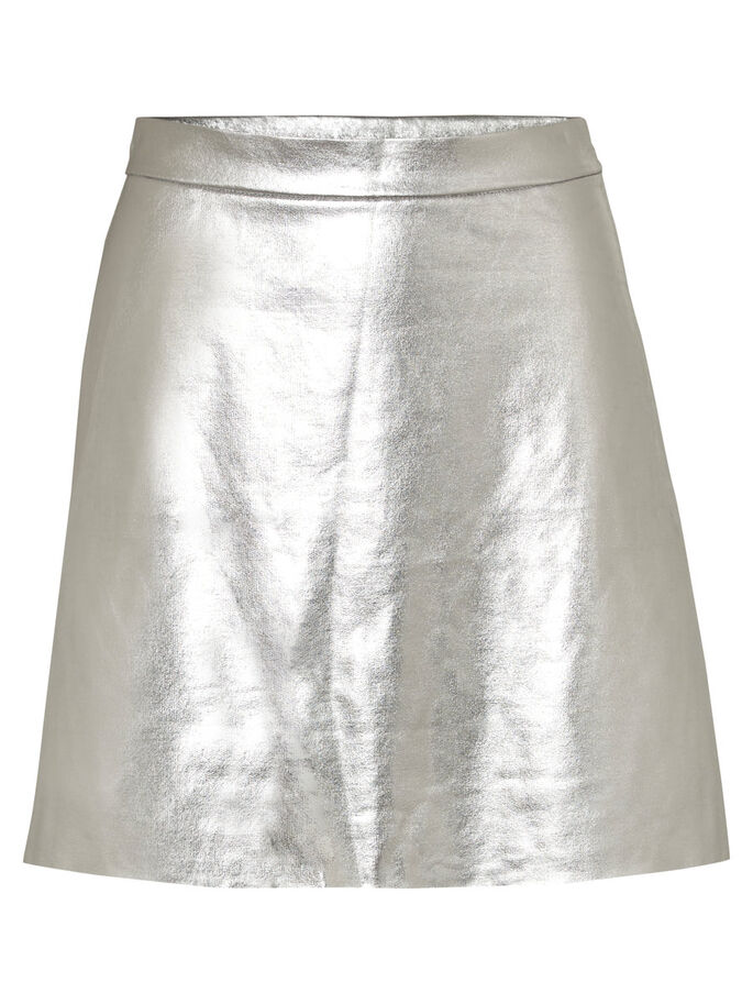 SHORT MINI SKIRT, Silver, large