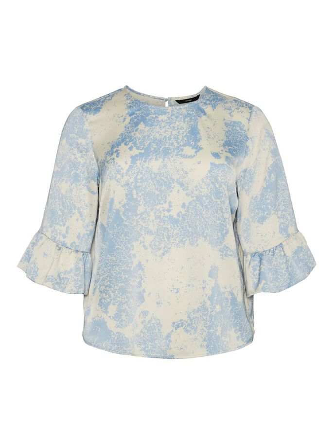 PRINTED 3/4 SLEEVED TOP, Placid Blue, large