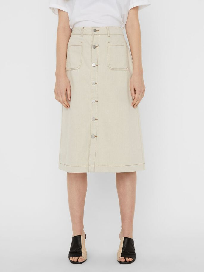 HIGH WAISTED DENIM MIDI SKIRT, Ecru, large
