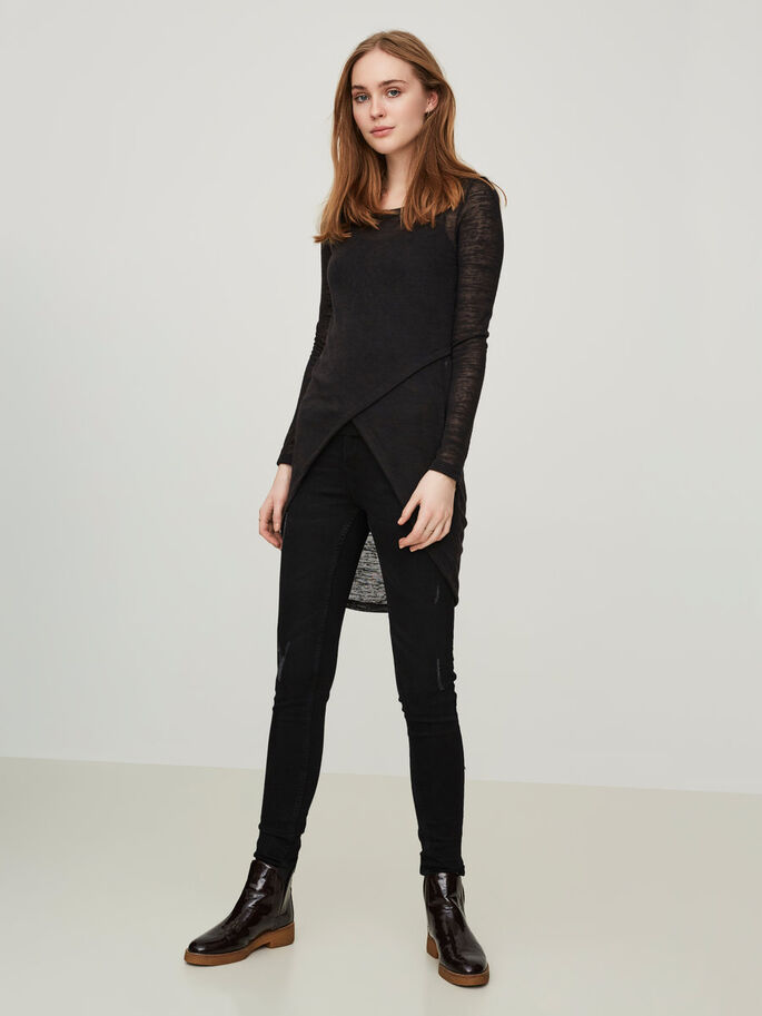 CASUAL LONG SLEEVED BLOUSE, Black, large
