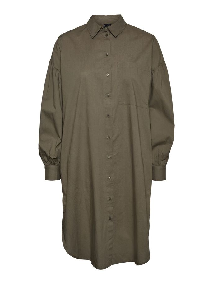 SHIRT MIDI JURK, Dusty Olive, large