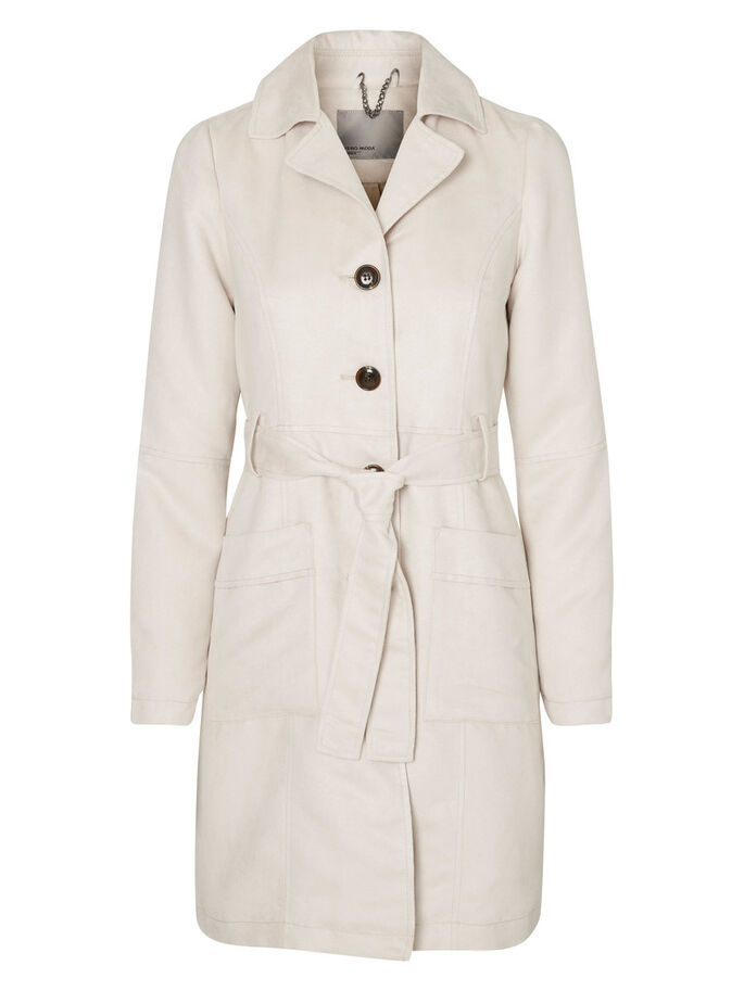 FAUX SUEDE TRENCHCOAT, Moonbeam, large