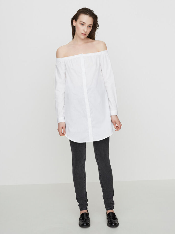 OFF-SHOULDER- LANGARMHEMD, Bright White, large