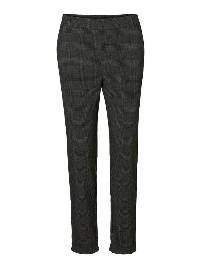 CHEQUERED TROUSERS, Dark Grey Melange, large