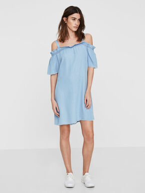 OFF-SHOULDER SHORT SLEEVED DRESS