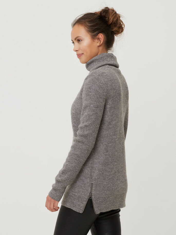 TURTLENECK GEBREIDE TRUI, Medium Grey Melange, large