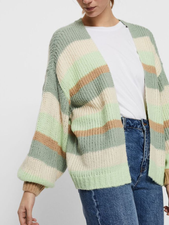 STRIPED KNITTED CARDIGAN, Jadeite, large