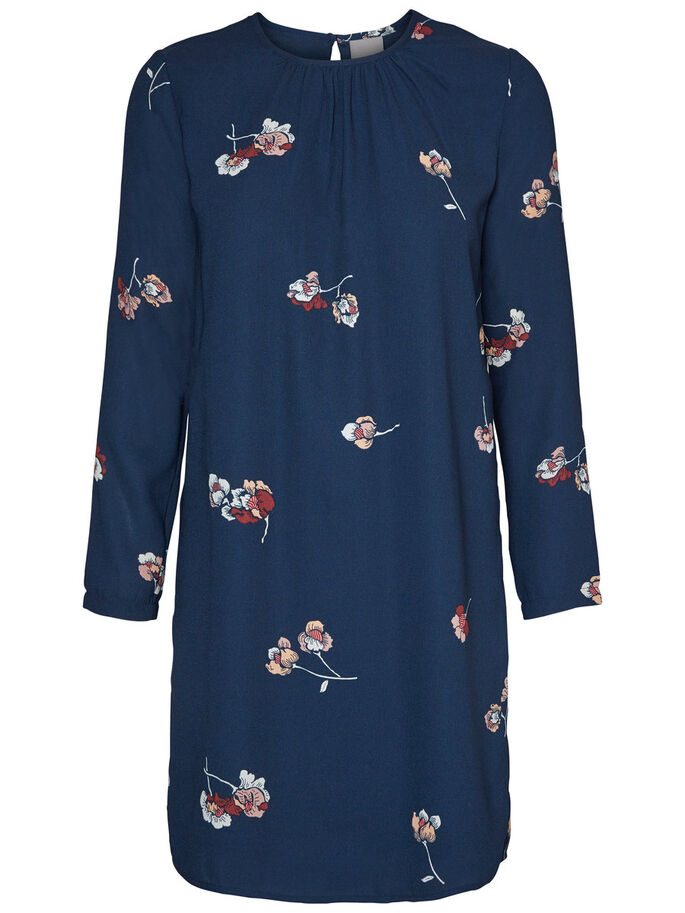 FLOWERED LONG SLEEVED DRESS, Total Eclipse, large