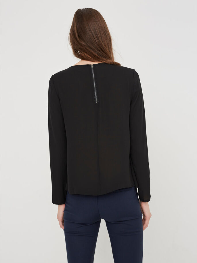 DETAILED LONG SLEEVED BLOUSE, Black, large