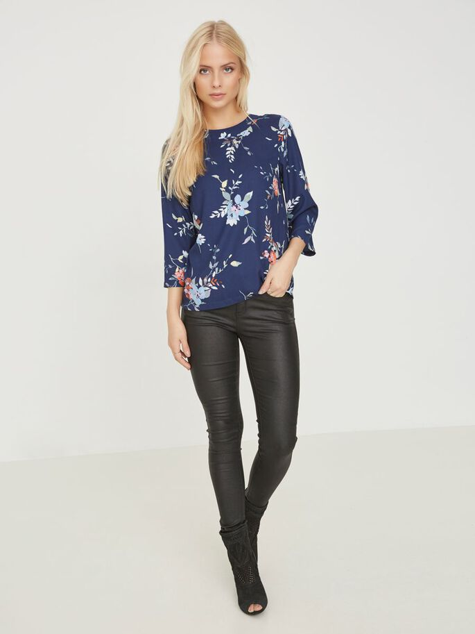 FEMININE 3/4 SLEEVED TOP, Total Eclipse, large