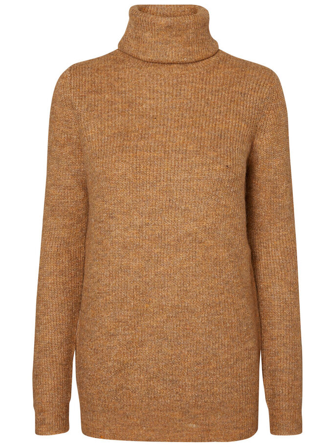 TURTLENECK KNITTED PULLOVER, Tobacco Brown, large