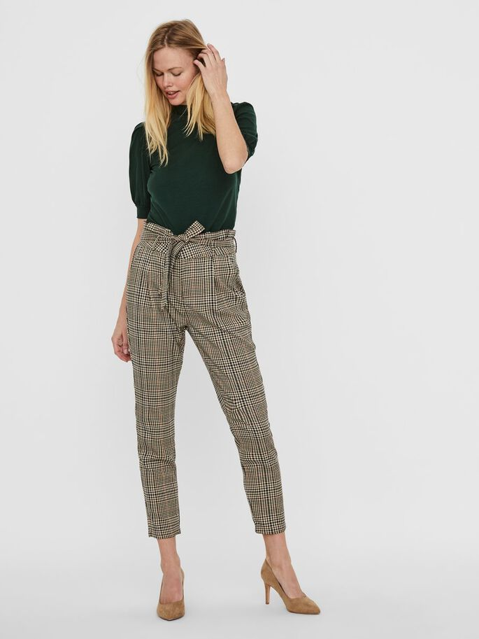 CHEQUERED PAPERBAG TROUSERS, Tobacco Brown, large