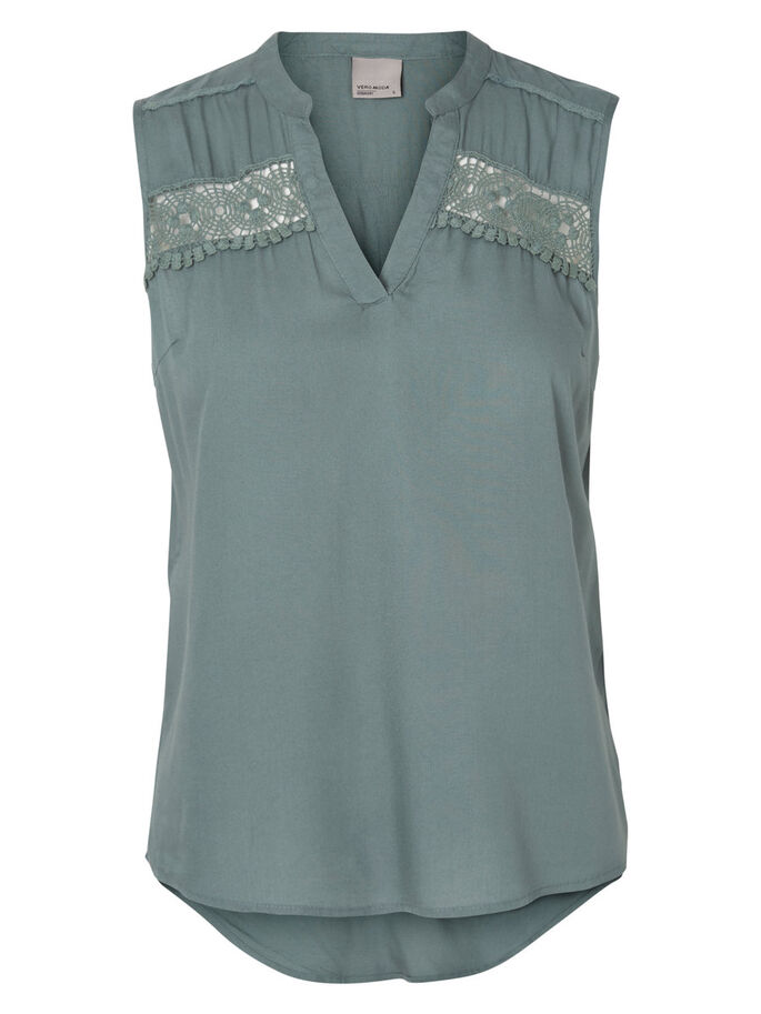 LACE SLEEVELESS TOP, Balsam Green, large