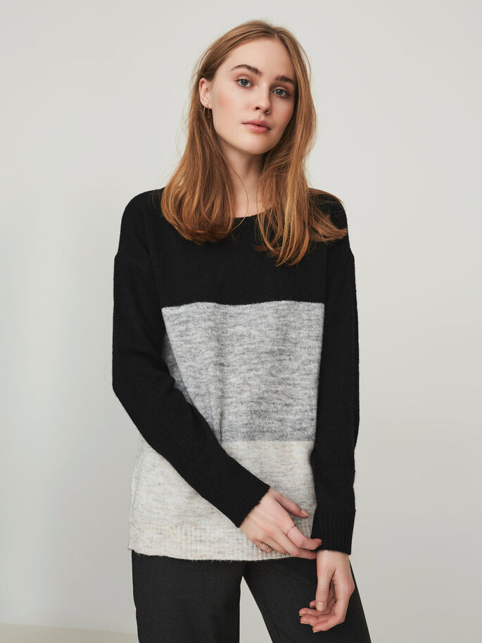 CASUAL KNITTED PULLOVER, Black Beauty, large