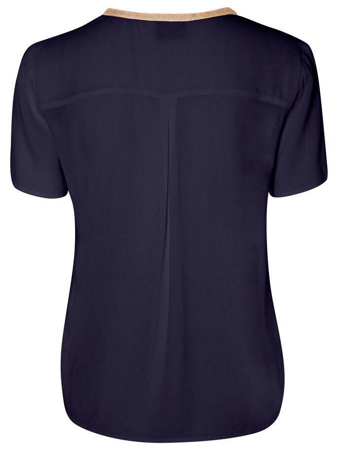 DETAILED SHORT SLEEVED TOP, Navy Blazer, large