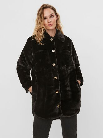FAUX FUR SHIRT JACKET