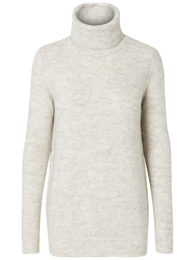 TURTLENECK KNITTED PULLOVER, Light Grey Melange, large