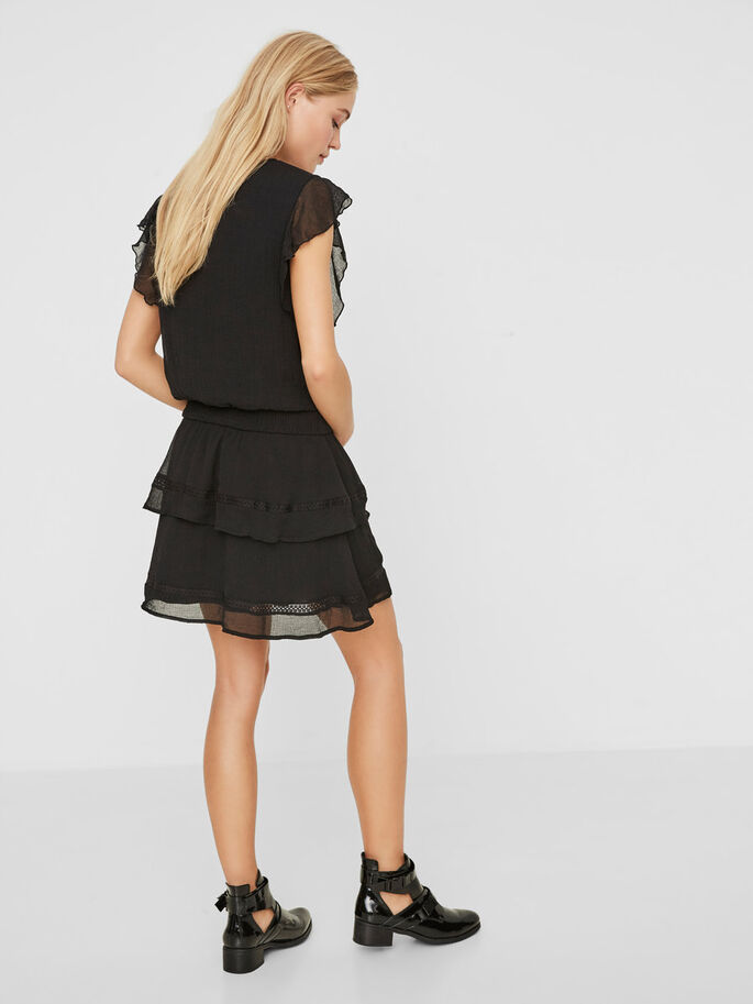 FRILL SHORT SLEEVED DRESS, Black, large