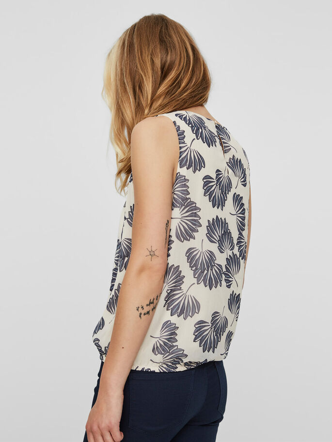 FLOWER SLEEVELESS TOP, Eggnog, large
