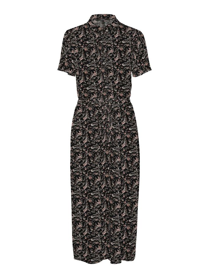 PRINTED MIDI DRESS, Black, large