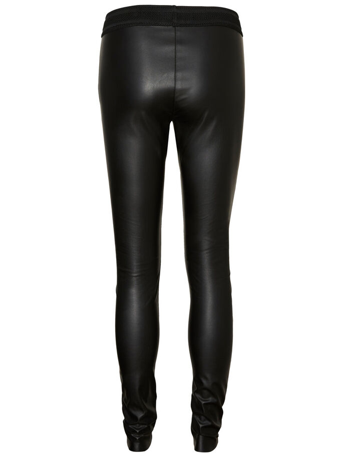NW LÆDER-LOOK LEGGINGS, Black, large