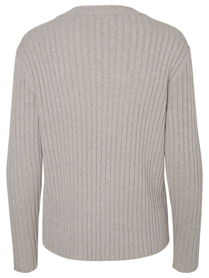 CASUAL STRIKKET PULLOVER, Light Grey Melange, large