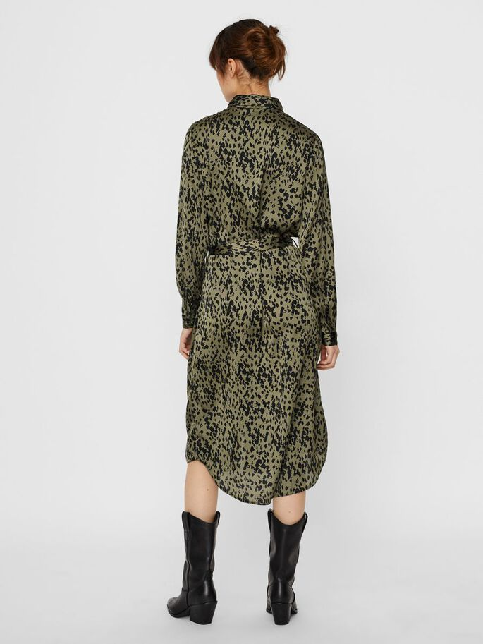 PRINTED SHIRT DRESS, Beech, large