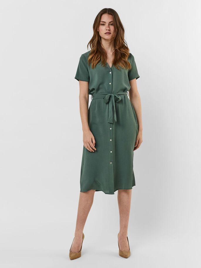 V-NECK MIDI DRESS, Laurel Wreath, large