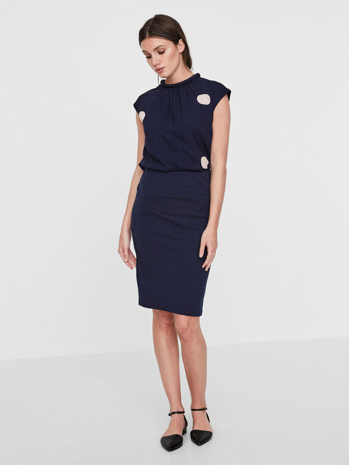 TIGHT FIT PENCIL SKIRT, Navy Blazer, large