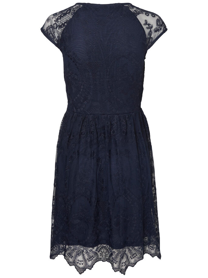 LACE SHORT SLEEVED DRESS, Navy Blazer, large