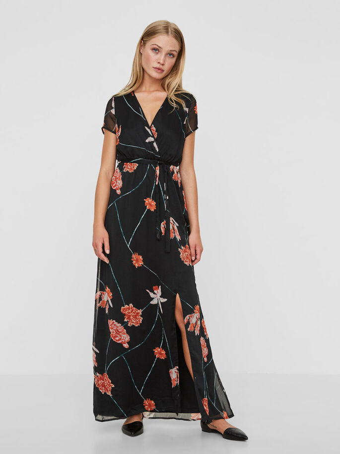 SHORT SLEEVED MAXI DRESS, Black, large