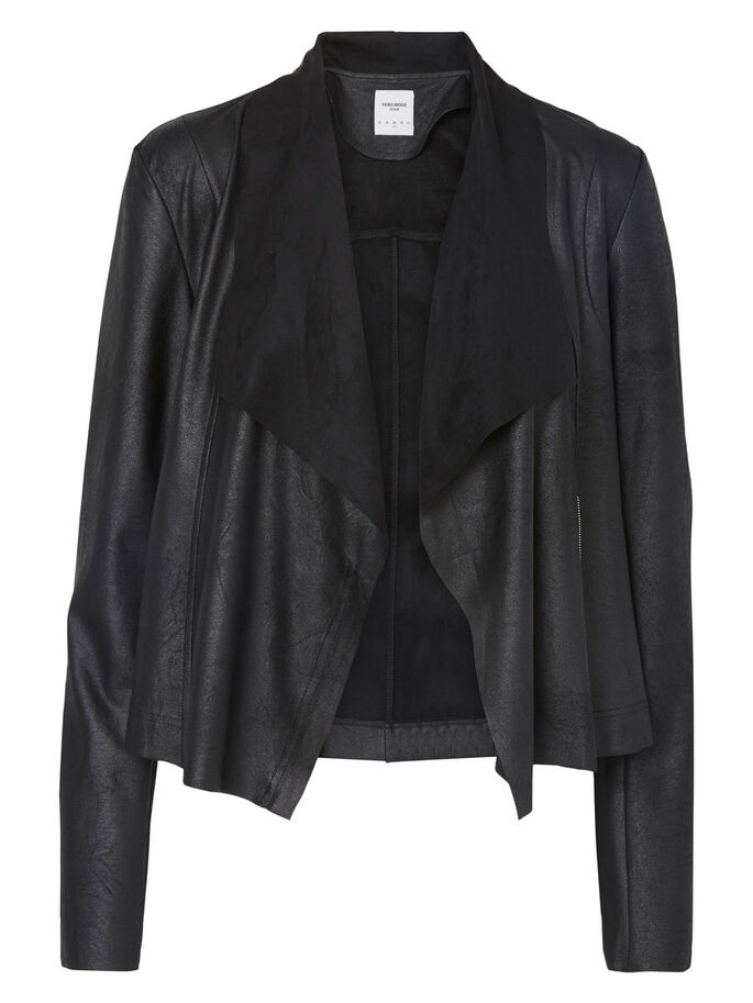FAUX SUEDE BLAZER, Black, large