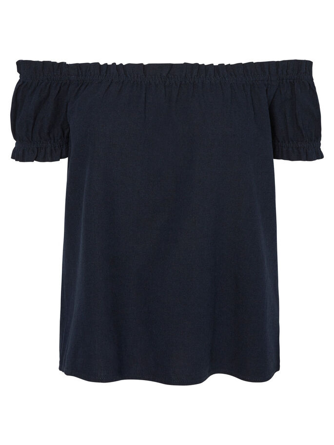 LINEN OFF-SHOULDER SHORT SLEEVED TOP, Navy Blazer, large