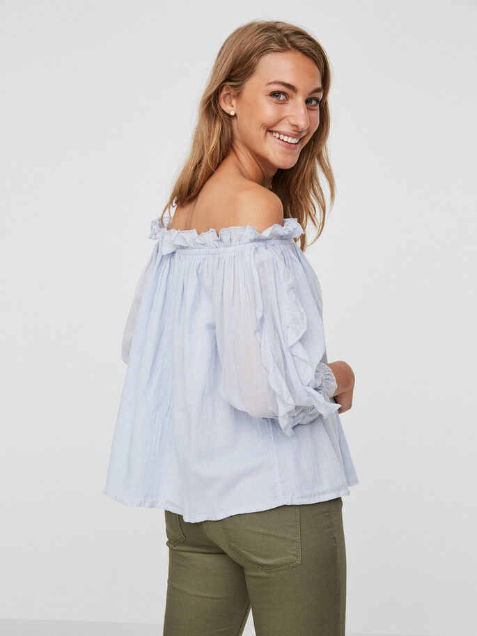 OFF-SHOULDER SHORT SLEEVED TOP, Chambray Blue, large