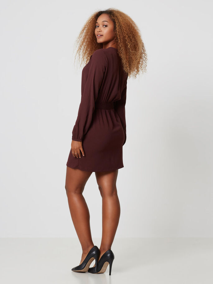 LONG SLEEVED SHORT DRESS, Decadent Chocolate, large