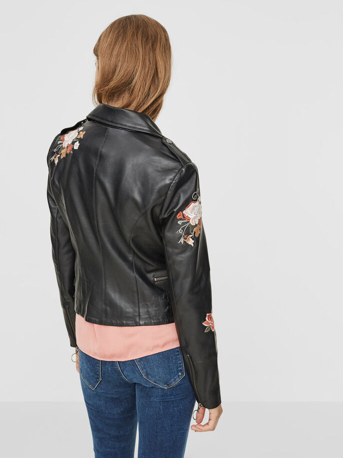 FEMININE LEATHER JACKET, Black Beauty, large
