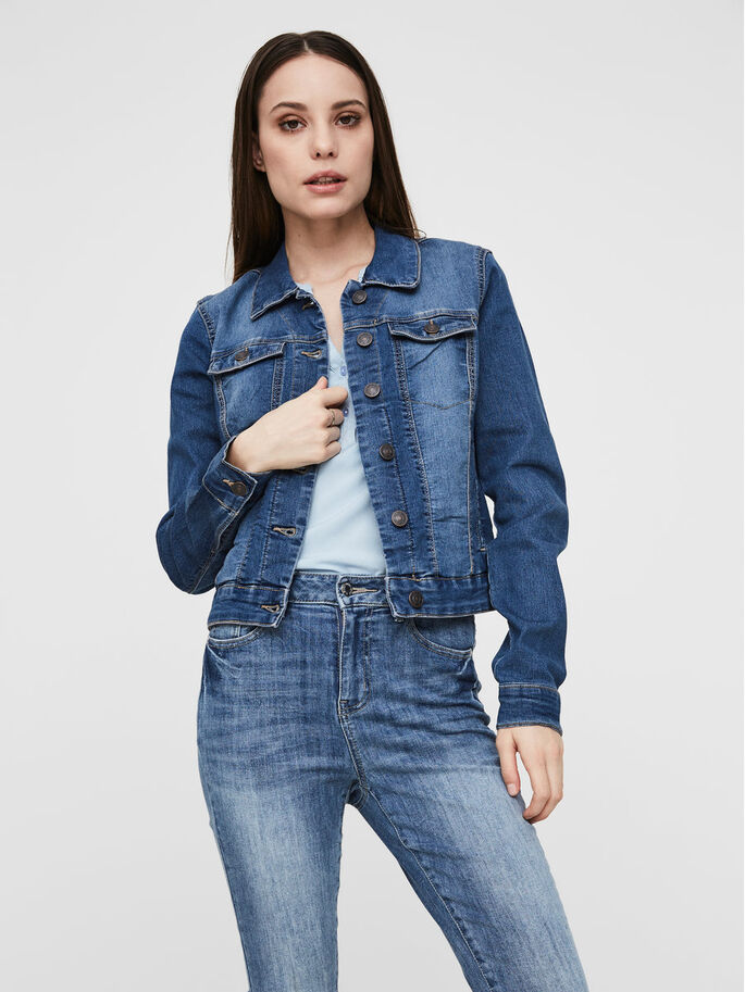 CASUAL- JEANSJACKE, Medium Blue Denim, large
