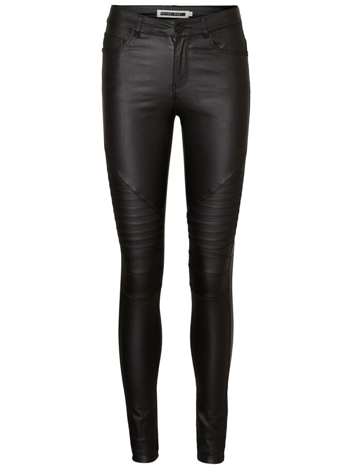 LUCY NW COATED BIKER JEANS, Black, large