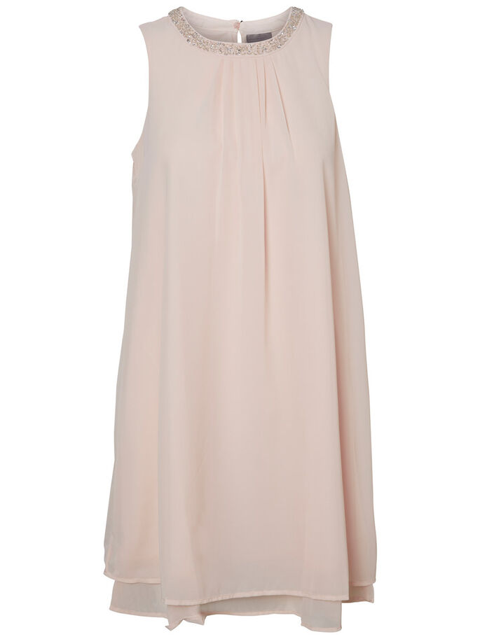 FEMININE SLEEVELESS DRESS, Peach Whip, large