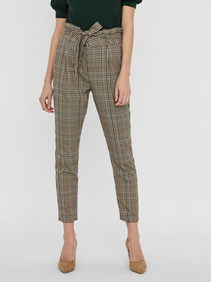 CHEQUERED PAPERBAG TROUSERS