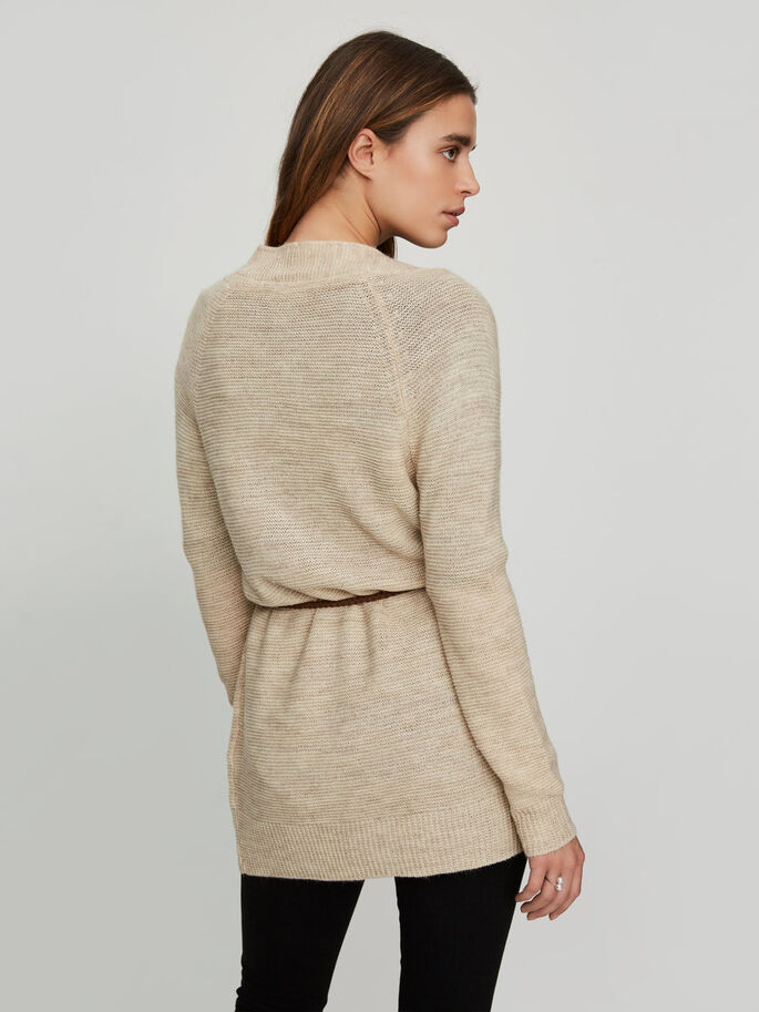 LANG STRIKKET CARDIGAN, Oatmeal, large