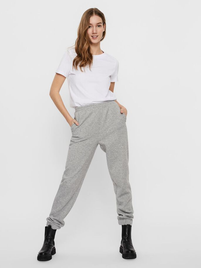 HIGH WAISTED SWEATPANTS, Light Grey Melange, large