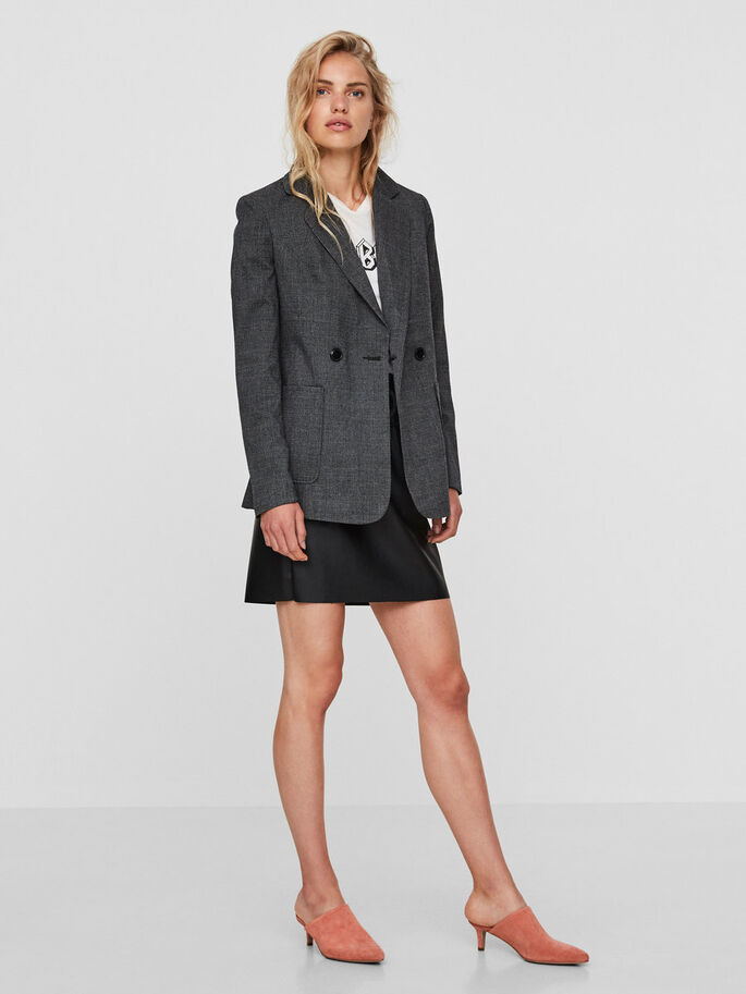 CHEQUERED BLAZER, Medium Grey Melange, large